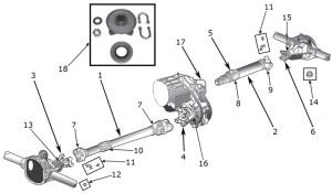 Jeep Wrangler YJ Drive Shaft Parts ('87'95)   Quadratec