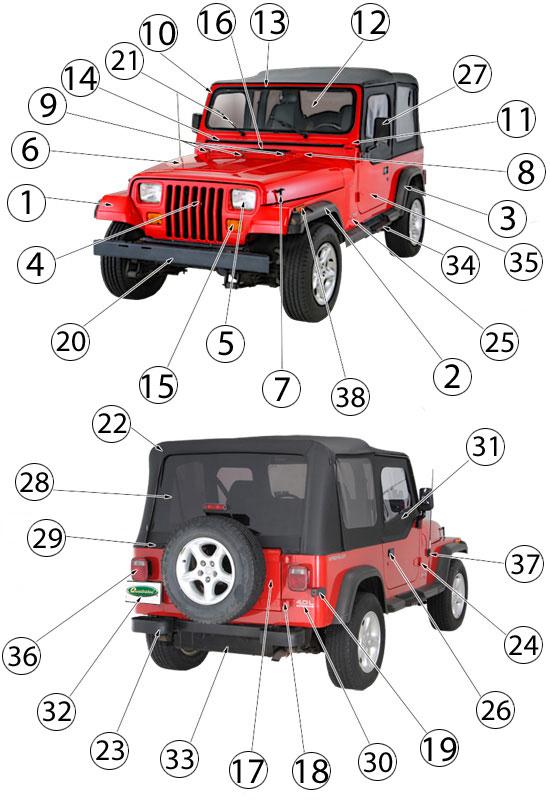 98 Jeep Wrangler Interior Parts