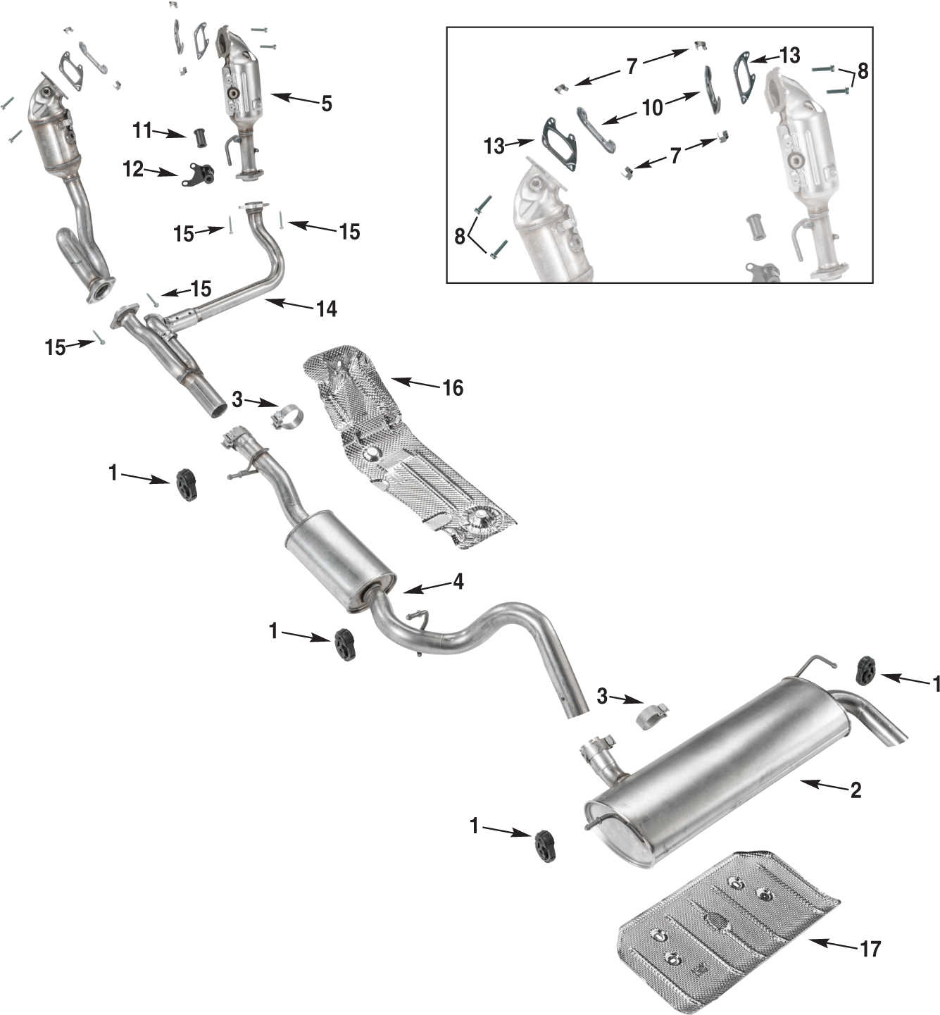 Jeep Wrangler JK Exhaust Parts 1215  Quadratec