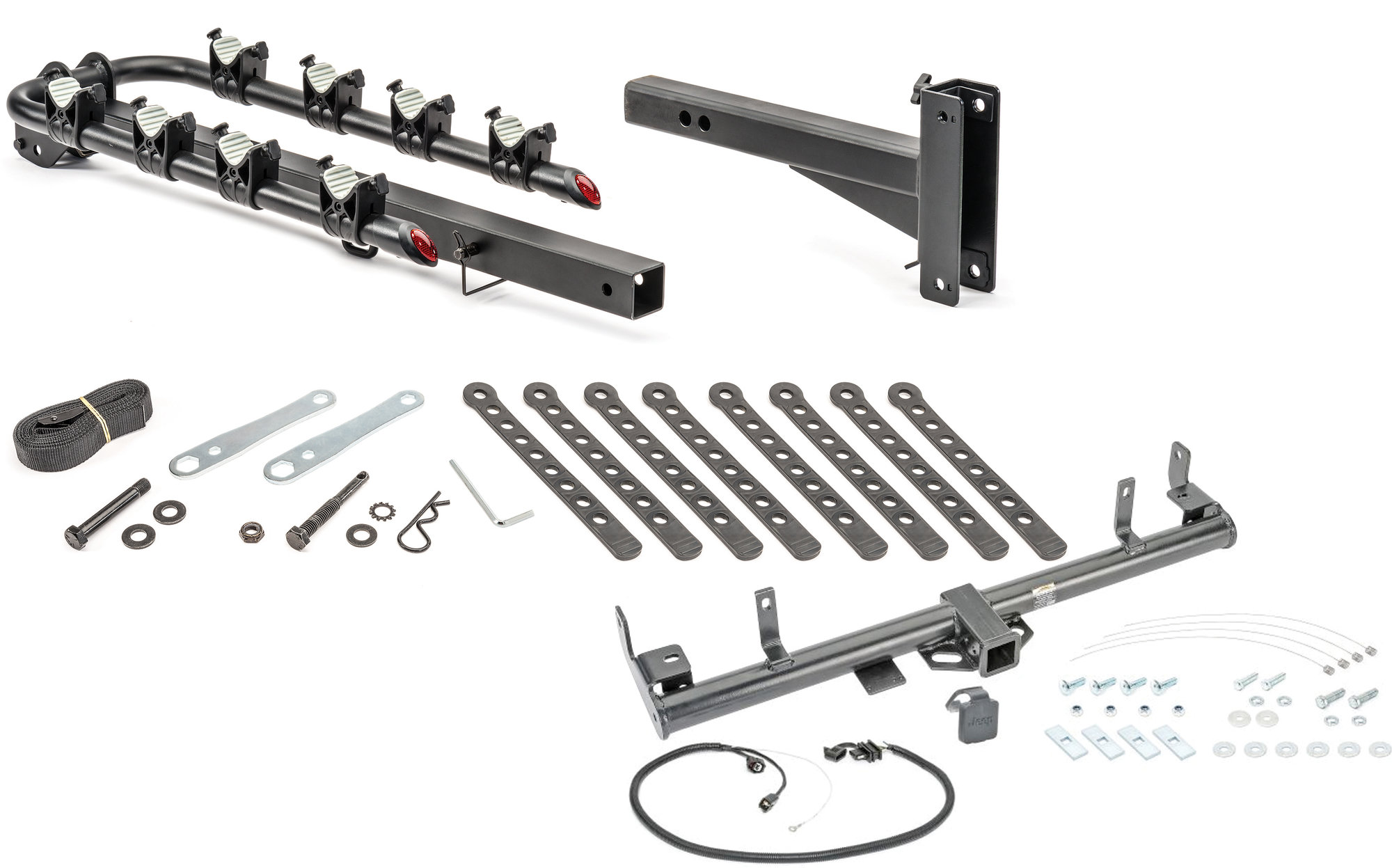 Quadratec 4 Bike Folding Bike Rack Amp 2 Receiver Hitch Kit For 98 06 Jeep Wrangler Tj