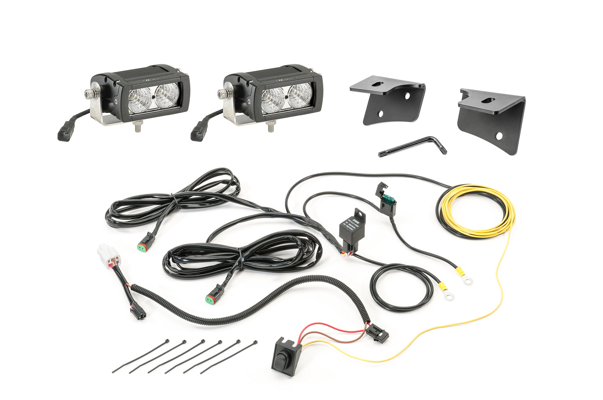 Quadratec 4 Rectangular Led Lights With Wiring Harness