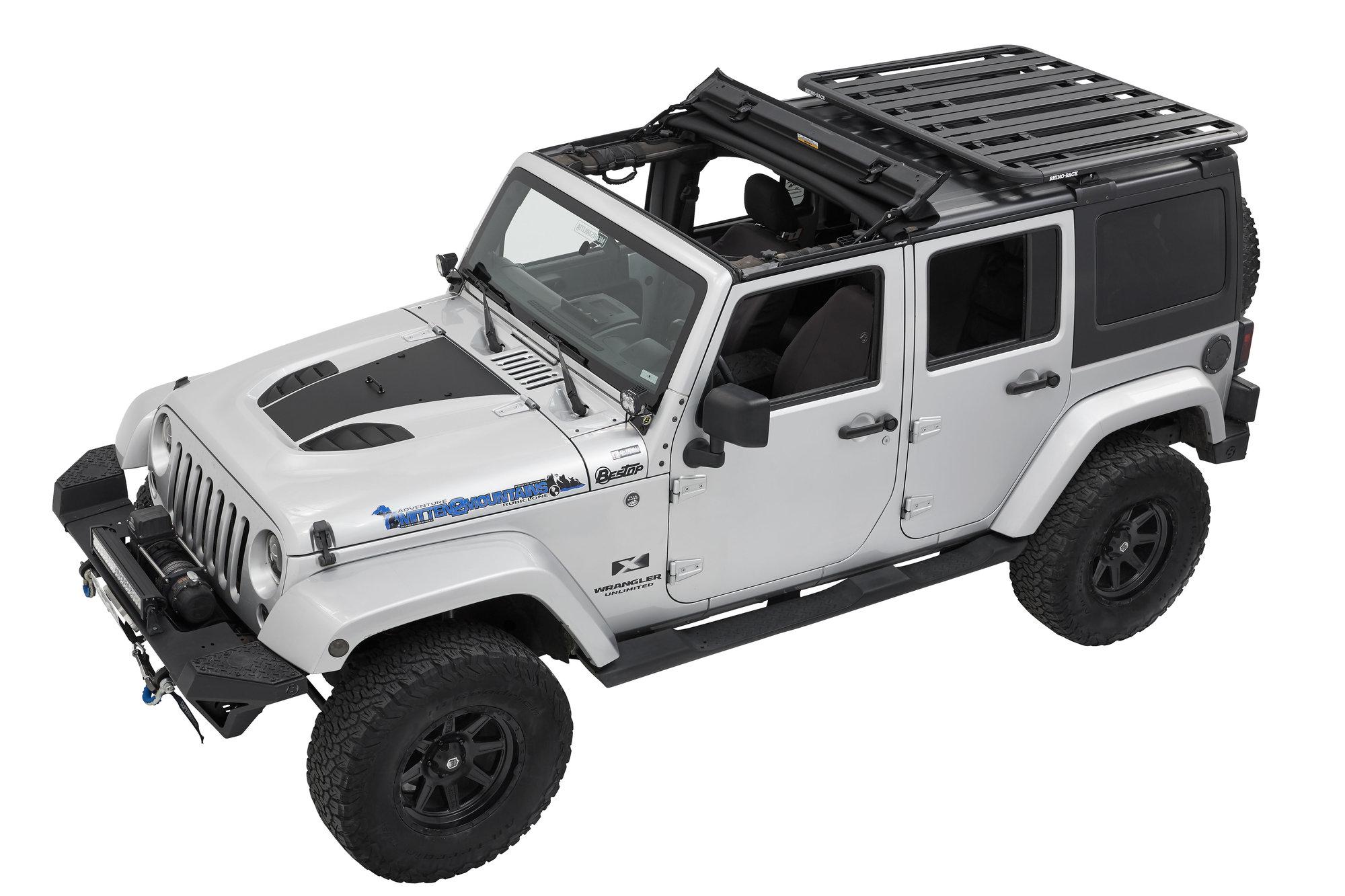 bestop rhino rack for sunrider for 07 18 jeep wrangler unlimited jk 4 door