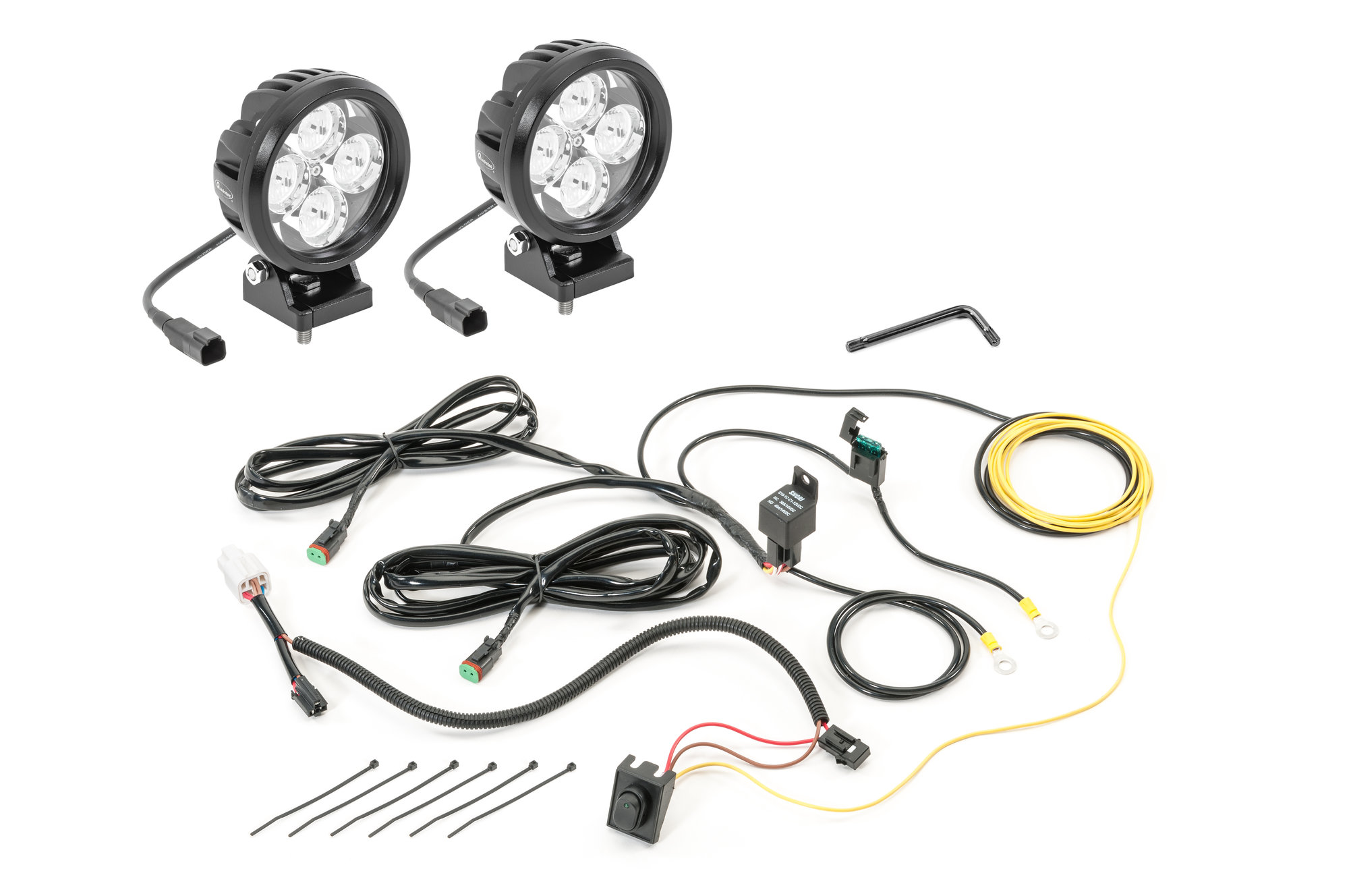 Quadratec 4 Round Led Lights With Wiring Harness