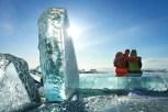 Traveler among ice of lake Baikal