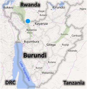 Burundi on a map