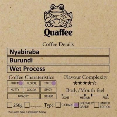 Burundi Nyabiraba coffee roasted at Quaffee Vineyard Hotel roastery