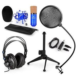 auna CM001BG Set V2 • Kit de Microphone de Studio • Micro à condensateur XLR • Casque de Studio • USB • Filtre Anti-Pop • Pied de Table • Capsule de condensateur de 32 mm • Pied réglable