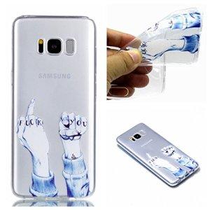 Cozy Hut Coque Compatible avec Samsung Galaxy S8 Plus, Soft Premium TPU Transparent Housse Etuis de Protection Compatible avec Samsung Galaxy S8 Plus – Doigt du Milieu et Poing
