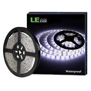 LE Lighting EVER Ruban LED Lumineux 5m, Bande Lumineuse, Etanche IP65 SMD 2835 300 LEDs, Lumière Blanche Froide pour Mariage,Noël, Poutre, Cuisine, Meuble, TV, Cabinet, Escalier, Vitrine, Balcon etc.