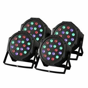 Lot de 4 jeux de lumières de scène ZjRight LED RVB PAR64 54 W DMX512, idéal pour les clubs, les prestations de DJ, les concerts et les fêtes (18 x 3 W 4 pièces)