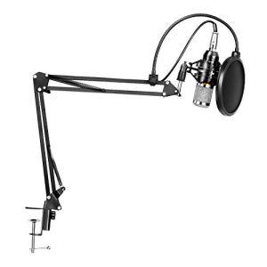 LYPULIGHT BM-800 Microphone à Condensateur Professionel Enregistrement Studio Radio Kit avec Bras de suspension pour d'enregistrement réglable avec support antichocs et kit de pince de fixation