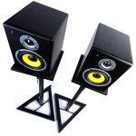 Nordell Pieds d'enceintes haut de gamme pour moniteurs de studio et haut-parleurs Hi-Fi Réglable en hauteur et plateau rotatif pour positionnement des haut-parleurs Pair of Stands