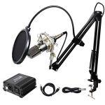 TONOR Microphone à Condensateur XLR à 3,5 mm Podcasting Studio Enregistrement Professionnel Kit Micro avec Alimentation Fantôme 48V et Convertisseur AC EU Noir