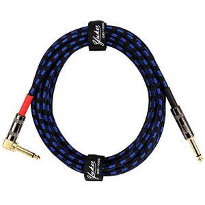 Yuker Câble Guitare sans Bruit,Câble Professionnel Plaqué Or pour Instrument avec Tête Droit et Coudé pour Guitare Amplificateur Clavier Electronique Basse-3m