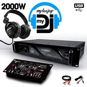 Amplificateur sono 2000W MY DEEJAY AX-2000 MyDj + Table de mixage DJ21 USB + Casque audio Gemini DJX-07 DJ