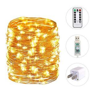 Polaristar Lights33ft Plug USB 100 LED en 8 Modes d'éclairage avec minuteur à Distance et minuteur étanche Blanc Chaud