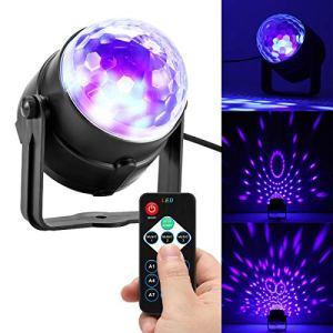 Sunsbell UV Black Lights, LED 3W Boule de Disco Magie Cristal Son d'ampoule d'étape du DJ Activé avec la Télécommande pour l'éclairage de Club de Barre des Parties KTV