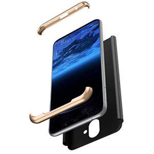 JAWSEU Compatible avec Nokia X7 Coque de Protection Intégrale avec Protecteur d'écran Verre trempé Slim Plastique PC Hard Case Protection Complète Bumper Antichoc Housse,Or Noir