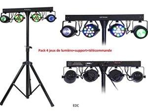 PACK 4 JEUX DE LUMIÈRE LED SUPPORT LUMIERE 2 PROJECTEURS LED PAR RGBW + 2 MOON FLOWER LED+TÉLÉCOMMANDE +CÂBLE D'ALIMENTATION+BARRE TRANSVERSALE ALIMENTANT APPAREILS DMX/SOIRÉES