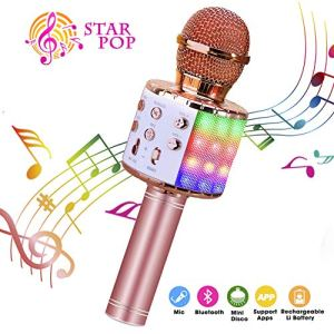 ShinePick Microphone Karaoke Sans Fil, Karaoké Microphone Bluetooth Portable pour Enfants/Adultes Chanter, Compatible avec Android/IOS/PC/Smartphone (Or rose)