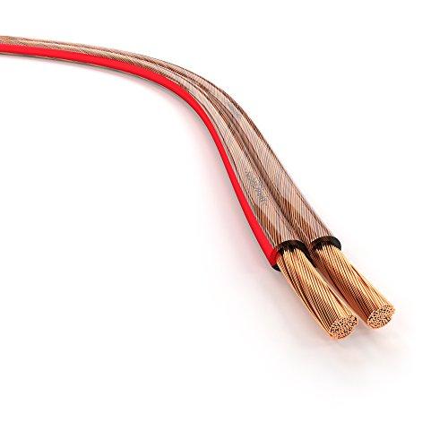 KabelDirekt 50m Câble d'enceinte (2×2,5mm² câble haut-parleur HiFi Made in Germany, en cuivre OFC, avec marquage de polarité) PRO Series