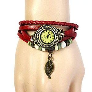 Liusdh Montre pour homme avec bracelet vintage en perles tissées et pendentif en cuir Taille unique Einheitsgröße rouge