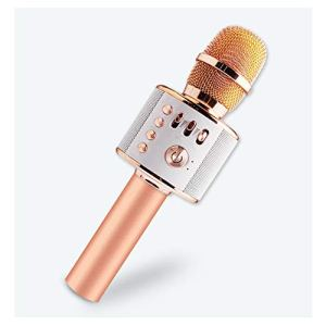 LIWEILA sans Fil Bluetooth Microphone Karaoke, Karaoke Player Portable Speaker pour Apple iPhone Smartphone Android ou PC, pour Home KTV Party extérieure,Rosegold