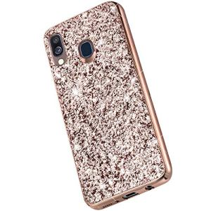 Saceebe Compatible avec Samsung Galaxy A40 Coque Brillante Diamant Paillette Strass Coque Femme Glitter Silicone Housse Etui de Protection Antichoc Anti-Rayures Ultra Fine Mince Étui,Or Rose
