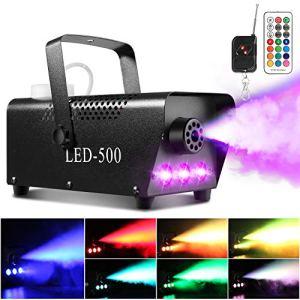 AGPtEK Machine à fumée avec 13 lumières LED colorées et effet RVB, 500 W et 2000 CFM avec 2 filaires et télécommande sans fil, parfait pour les mariages, Halloween et spectacles de scène