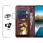 Saceebe Compatible avec Huawei P20 Coque Cuir Etui Pochette Portefeuille Housse Brillante Glitter Fleur de cerisier Chat Fleur Motif Flip Case Rabat Magnétique Porte-Cartes,Marron