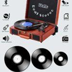 HXwsa Record Player Portable LP Platine sans Fil phonographe intégré Haut-parleurs stéréo Valise Conception Turntable USB SD 3-Speed Belt-Drive Disque Vinyle Joueur