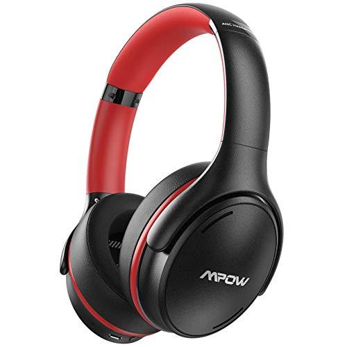 Mpow Casque antibruit Bluetooth 5.0 sans fil avec charge rapide, Hi-Fi basses profondes avec micro CVC 8.0 pour la maison, le bureau en ligne Noir/rouge