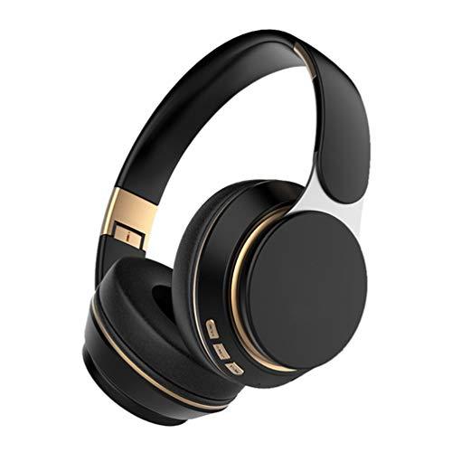 Casque De Musique Mega Bass sur L'oreille Écouteurs De Sport Pliable sans Fil Bluetooth 5.0 HiFi Stéréo Stéréo Appels Calling Écouteurs Film,Noir