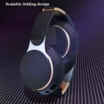 Casque De Musique Mega Bass sur L'oreille Écouteurs De Sport Pliable sans Fil Bluetooth 5.0 HiFi Stéréo Stéréo Appels Calling Écouteurs Film,Noir