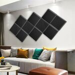 Lot de 12 panneaux acoustiques, panneaux en mousse acoustique, dalles de studio, panneaux sonores, isolation acoustique, absorbant 5,1 x 30,5 x 30,5 cm.