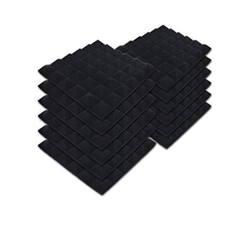 SK Studio Lot de 12 carrés de Panneau Mural Acoustique pyramidale Home Studio Traitement insonorisé Accessoires en Mousse 30x30x2.5cm, Noir
