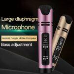TIUENHAVU Karaoke Condensater Microphone Sing Enregistrement Karaoké pour Téléphone Mobile Ordinateur Rose
