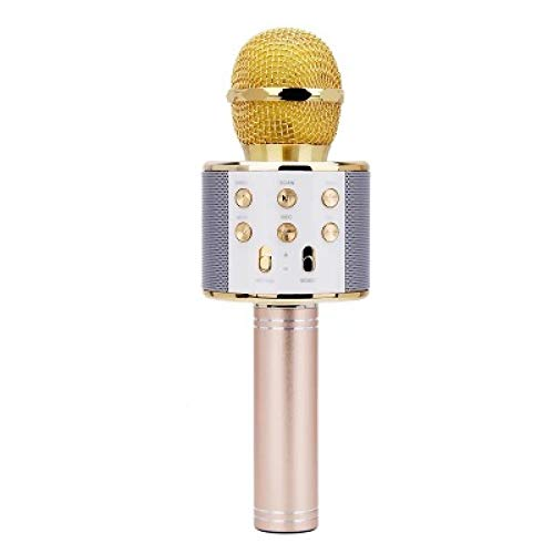 YUY Karaoké sans Fil Bluetooth Haut-Parleur Microphone De Poche Portable Audio Chant Enregistrement LED Microphone Adulte Enfant Cadeau d'anniversaire,Gold
