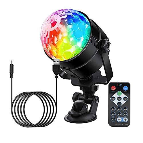 Boule disco LED boule à facette lumière soirée Commande Vocale, jeu de lumiere boule lumineuse pour Fête et Câble USB 4M lampe Scène Effet Spot pour Bar, Anniversaire, Club Karaoké, DJ