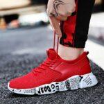 Chaussures de sport pour homme – Chaussures de course à lacets – En maille respirante – Chaussures de sport – Chaussures de sport – Chaussures de sport – Chaussures décontractées – 39-46 42 rouge