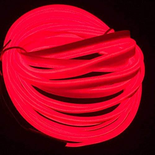 ZJJZ 5 M / 16FT, néon lumière Bricolage décoration Brillant EL Corde avec inverseur USB pour Les fêtes Costume de Cosplay de Noël (Rouge)