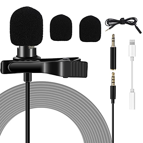 Czemo Micro Cravate, Lavalier Microphone Professionnel 3,5mm Omnidirectionnel Microphone Condensateur pour Appareil Photo, DSLR, iPhone, Android, Samsung, Sony, PC, Ordinateur Portable
