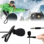 Mxzzand Clip de Microphone à Condensateur de Microphone à Revers de 3,5 Mm Utilisé pour L'enregistrement Audio, Entrevues, Conférences, Réunions(Noir)
