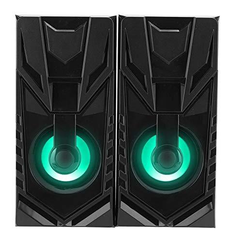 Agatige Haut-parleurs D'ordinateur, 1 Ensemble de Mini Haut-parleurs de Bureau à la Mode en Bois 2.0(Noir)