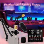 BM-80 Kit de Micro Carte Son, pour Microphone Intelligent condensateur Carte Son Microphone avec Bras de Ciseaux de Suspension de Micro réglable pour l Enregistrement Studio Enregistrement