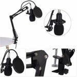 BM800 Studio Condenser Microphone Bras Support Filtre Pop Kit De Bouchon En Mousse Accessoire d'enregistrement pour Podcast, Jeu, Vidéo YouTube, Stream, Enregistrement de Musique, Voix Off