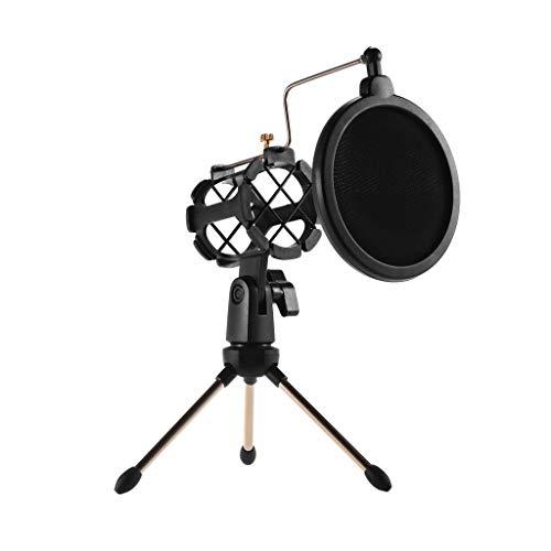 JYDQB Mini Support de Microphone de Bureau + Support de Micro à Montage Antichoc + Kit de Filtre Anti-Pop pour Enregistrement en Studio réunion de Chant en Ligne