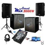 2 Caissons 800w – 2 Enceintes 700w – 1 Table de Mixage IBIZA DJM150USB-BT – 2 Pieds – Câble Enceinte, Câble RCA et Câble PC OFFERTS – ANNIVERSAIRE MARIAGE SOIREE DANSANTE