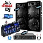 2 Enceintes 2x2000w – 1 Ampli 1600w – 1 Table de Mixage IBIZA DJM102-BT – Câble Enceinte, Câble RCA et Câble PC OFFERTS – PACK DJ SONO MIX MARIAGE SOIREE FIESTA DJ