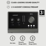 Audient Audiointerface iD14 MKII, 2 préamplis micro de classe A (interface audio USB haute performance, connecteur USB-C, fonction Monitor Mix et Monitor Panning, 2 sorties casque), Noir